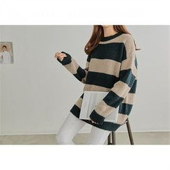 PEPER - Drop-Shoulder Striped Knit Top