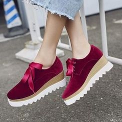 JY Shoes - Wedge Velvet Oxfords