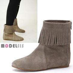 MODELSIS - Genuine Leather Fringed Ankle Boots