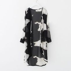 Meimei - Printed Long Chiffon Light Jacket