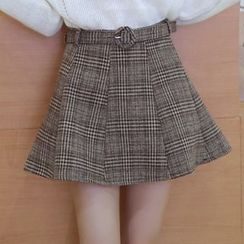 Glen Glam - Plaid A-line Knit Skirt