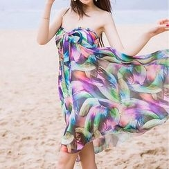 Isadora - Feather Print Strapless Chiffon Sundress
