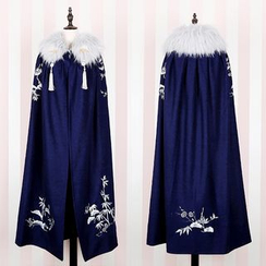 Rega - Flower Embroidered Furry Trim Cape