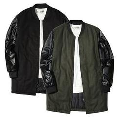 Seoul Homme - Glossy-Sleeve Zip-Up Coat
