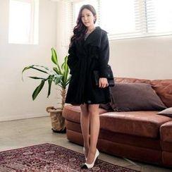 ERANZI - Shawl-Collar Wool Blend Trench Coat with Sash