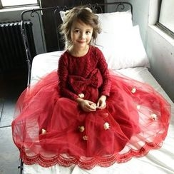 Cuckoo - Kids Bow Long-Sleeve Tulle Dress