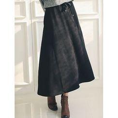 LOLOten - Coral-Fleece Lined A-Line Long Skirt