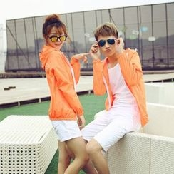Evolu Fashion - Couple Matching Print Hooded Windbreaker
