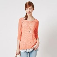 O.SA - Set: Open-Knit Top + Ruffled Layered Camisole