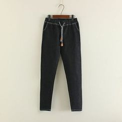 Mushi - Stitch Detailed Drawstring Jeans