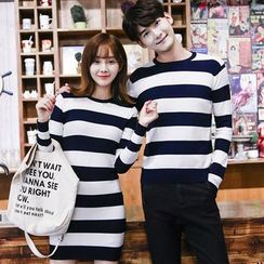 Tabla - Couple Matching Striped Sweater / Knit Dress