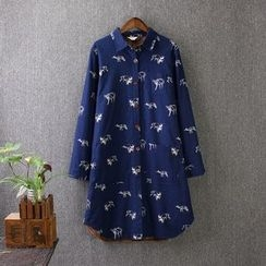 Blue Rose - Print Fleece-lined Long Blouse