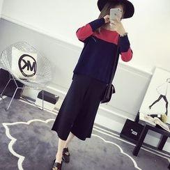 efolin - Set: Color Block Sweater + Cropped Wide Leg Pants