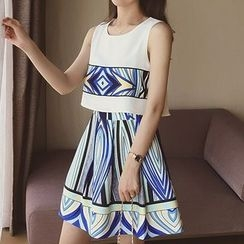 Cocofield - Patterned Mock Two Piece Tank Dress