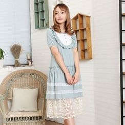 Blue Hat - Short-Sleeve Lace-Panel Dress