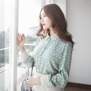 SUVINSHOP - Lace-Collar Polka-Dot Blouse