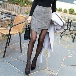 Picapica - Asymmetric-Hem Houndstooth Wool Blend Mini Skirt