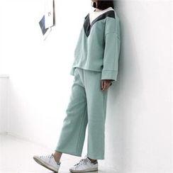 GLAM12 - Set: Color-Block T-Shirt + Drawstring-Waist Sweat Pants