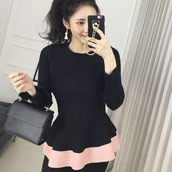 Seoul Fashion - Contrast-Trim Peplum Rib-Knit Top