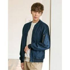 STYLEMAN - Washed Denim Zip-Up Jacket