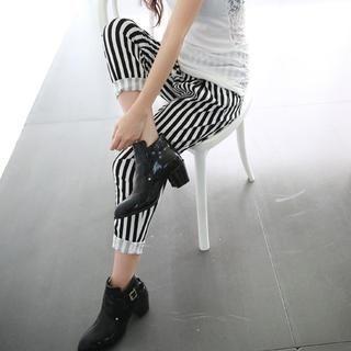 rico - Striped Cropped Harem Pants