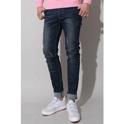 Ohkkage - Drawstring-Waist Washed Jeans