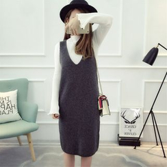 Dream Girl - Set: Plain Long Sleeve Knit Top + Knit Pinafore Dress