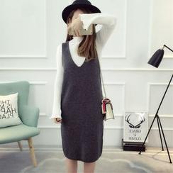 Dream Girl - 套装: 纯色长袖针织上衣 + 针织吊带裙