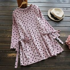 YOYO - Bow-Accent Dotted A-Line Dress