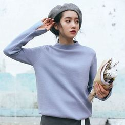 CosmoCorner - Silm-Fit Plain Turtleneck Sweater