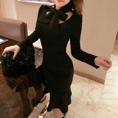 ZAPPA - Ruffle Hem Long-Sleeve Sheath Dress