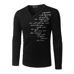 Fireon - Lettering Long Sleeve V-Neck T-Shirt