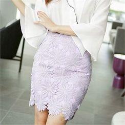 CHICLINE - Lace Mid Skirt