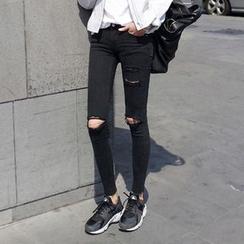 彩君 - 做旧窄身牛仔裤