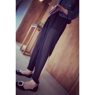 QZ Lady - Slit Chiffon Harem Pants