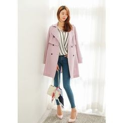 J-ANN - Double-Breasted Caplet Trench Coat