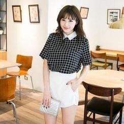 Tokyo Fashion - Short-Sleeve Contrast-Collar Check Top