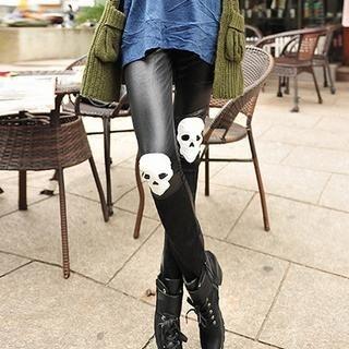 Ando Store - Appliqué Faux-Leather Panel Leggings