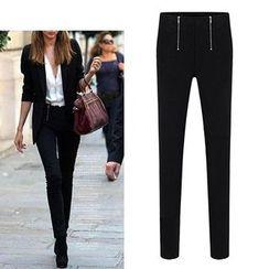 LIVA GIRL - Zip Front Skinny Pants