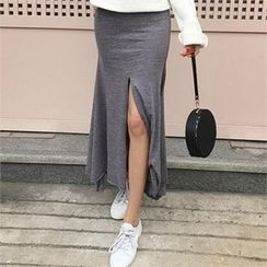 LIPHOP - Slit-Front Long Skirt
