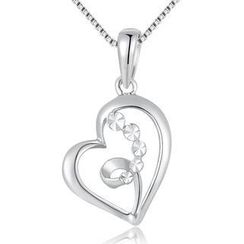 MBLife.com - Left Right Accessory - 14K/585 White Gold Heart Necklace 16'