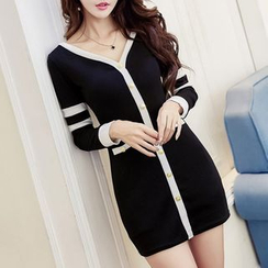 Neon Nite - Buttoned Contrast Trim Long Sleeve Mini Dress