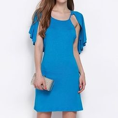 Obel - Ruffle Cape-Sleeve Dress
