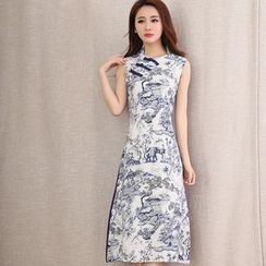 Diosa - Sleeveless Floral Chinese Button A-Line Midi Dress