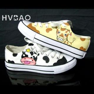 HVBAO - 'Giraffe & Cow' Canvas Sneakers