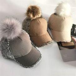TAAK - Pompom-Accent Fleece Baseball Hat