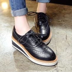 JY Shoes - Brogue Genuine Leather Platform Wedge Oxfords
