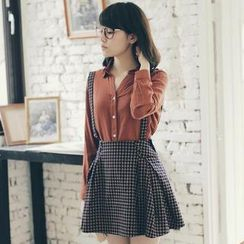 Tokyo Fashion - Buttoned Check Suspenders Skirt
