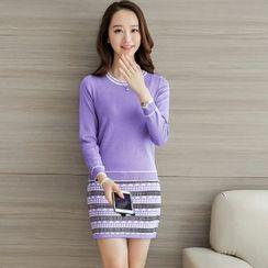 Yumerakka - 套装: 纯色修身针织上衣 + 半身裙