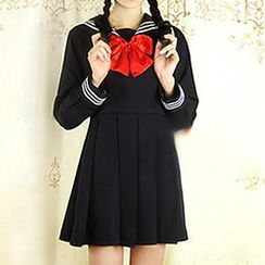 Skool - Long-Sleeve Sailor-Collar A-Line Dress